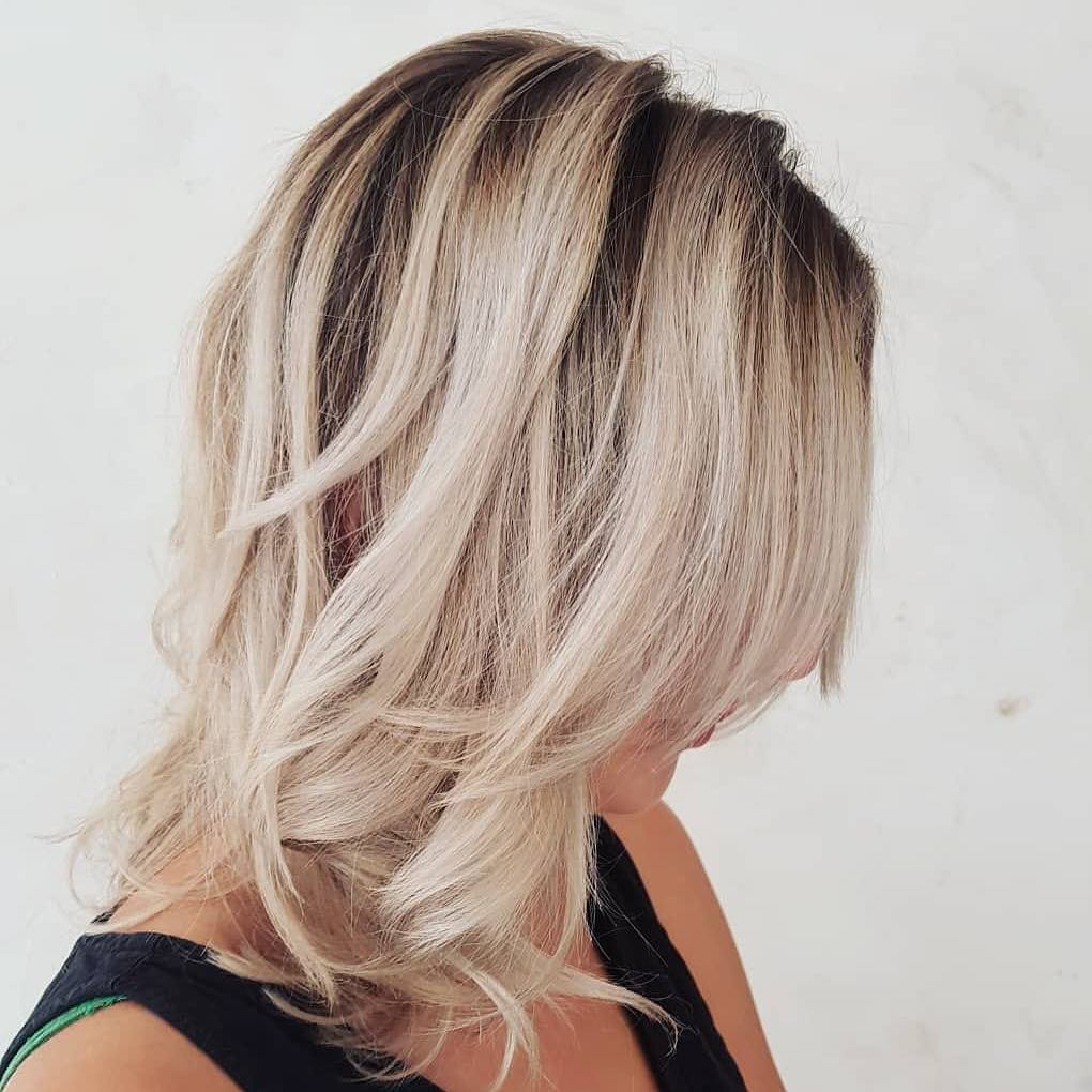 Blonde to dark roots natural hair balayage by ESHK hairdressers in Clerkenwell