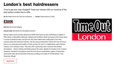 ESHK Hair in Time Out's London's Best Hairdressers