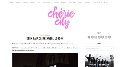 Review by city guide blog Chérie City of ESHK Hair Clerkenwell.