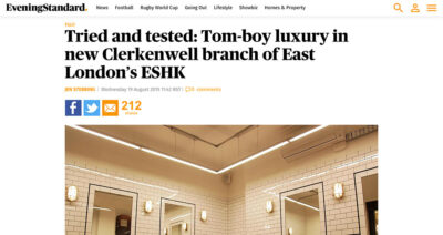 Review from Evening Standard of ESHK Hair Clerkenwell
