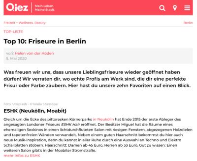 ESHK Friseur Neukölln and Moabit featured on Qiez.de top 10 best hairdresser Berlin