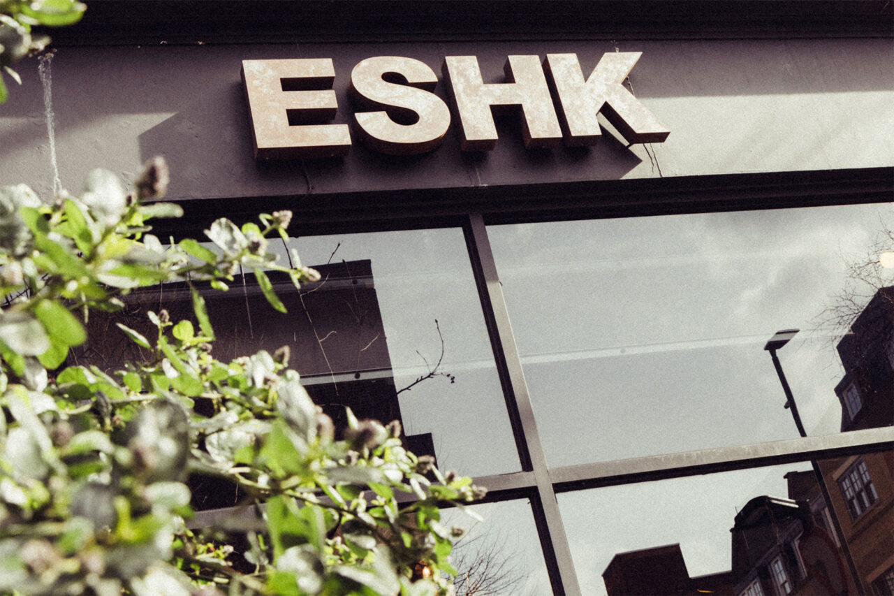 Hairdresser in Barbican and Farringdon company logo rusty steel letters at ESHK Hair Barbican