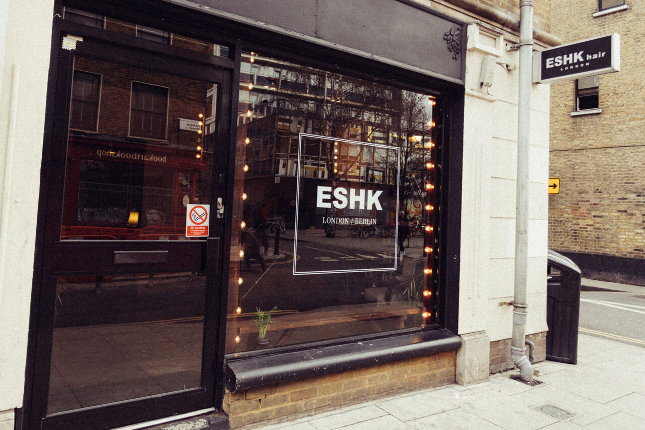 ESHK hair shoreditch shop front with lightbox