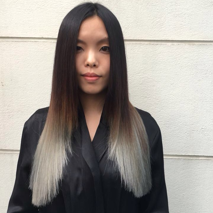 asian long hair balayage fade to blonde london