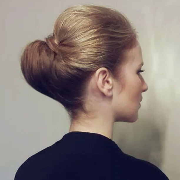 classic hair up blonde hair styling