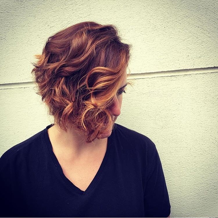 copper curls and waves with hair highlights in clerkenwell