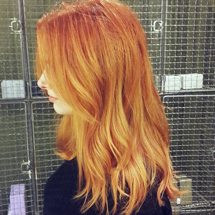 ginger to blonde highlights half head in london farringdon