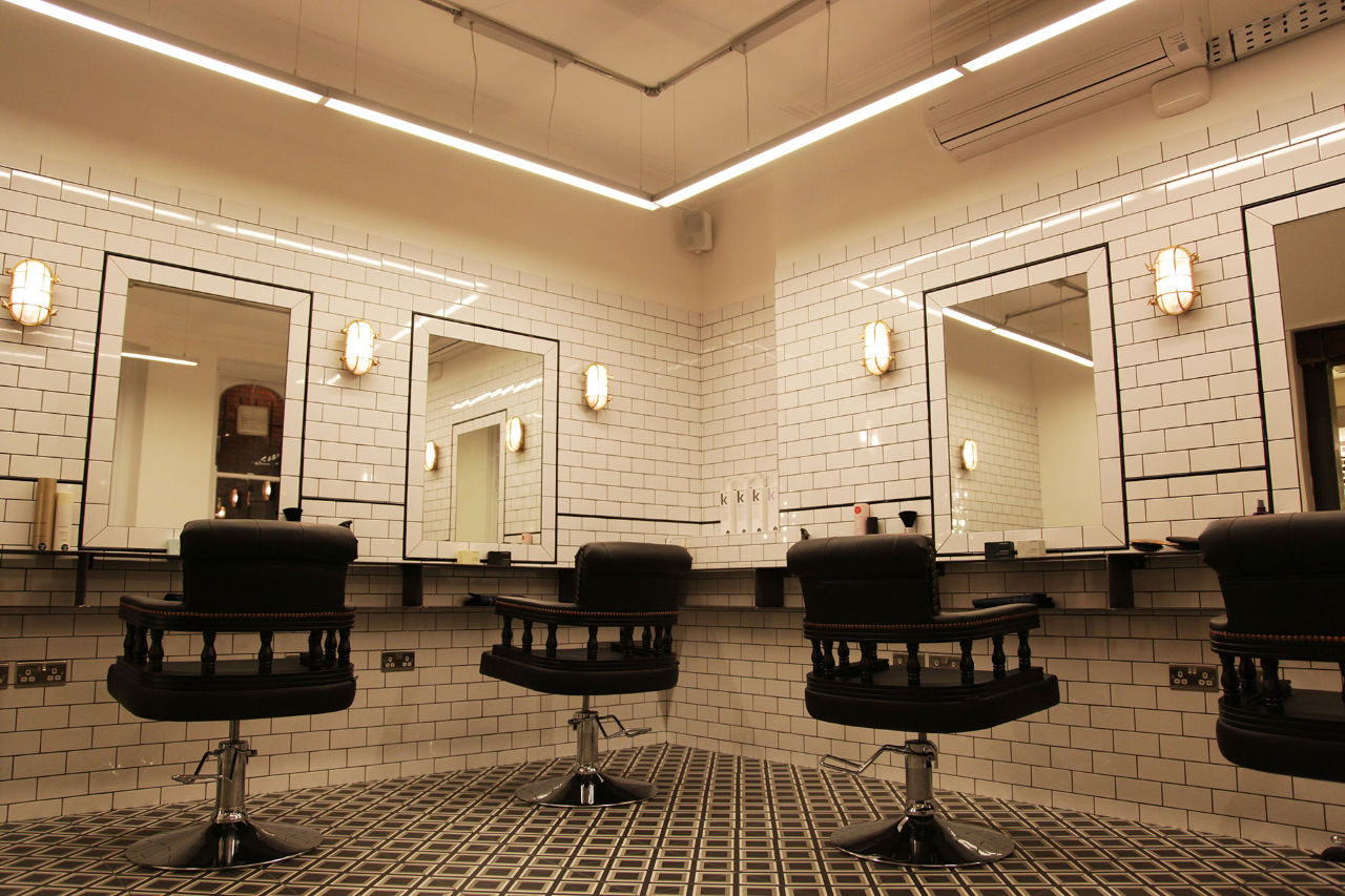 hairdresser in Clerkenwell haircut room chairs and tiled mirrors
