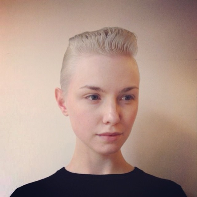 ladies haircut blonde quiff