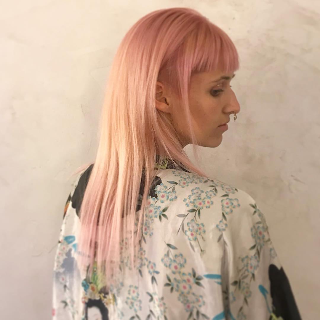 long light pink fringe haircut