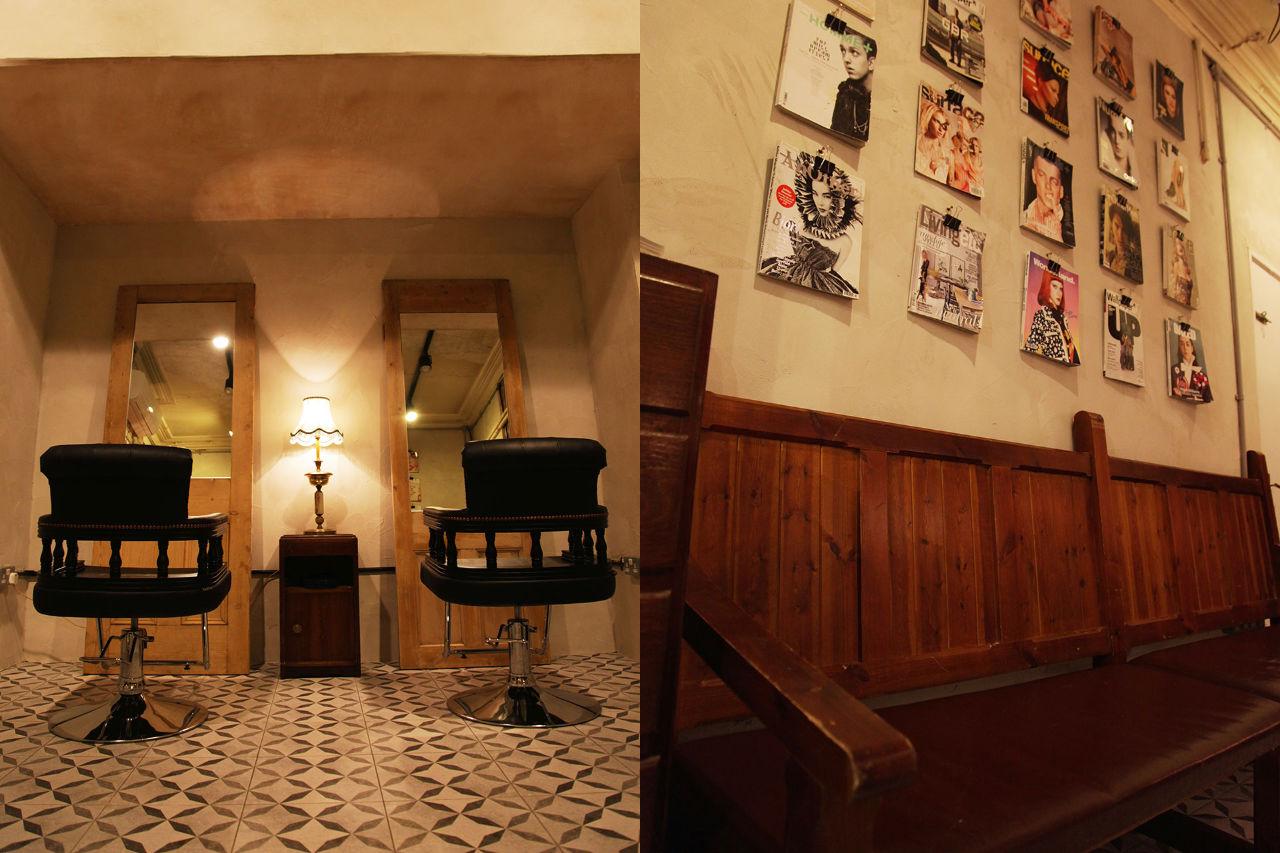 magazine wall at ESHK Clerkenwell hairdresser in London