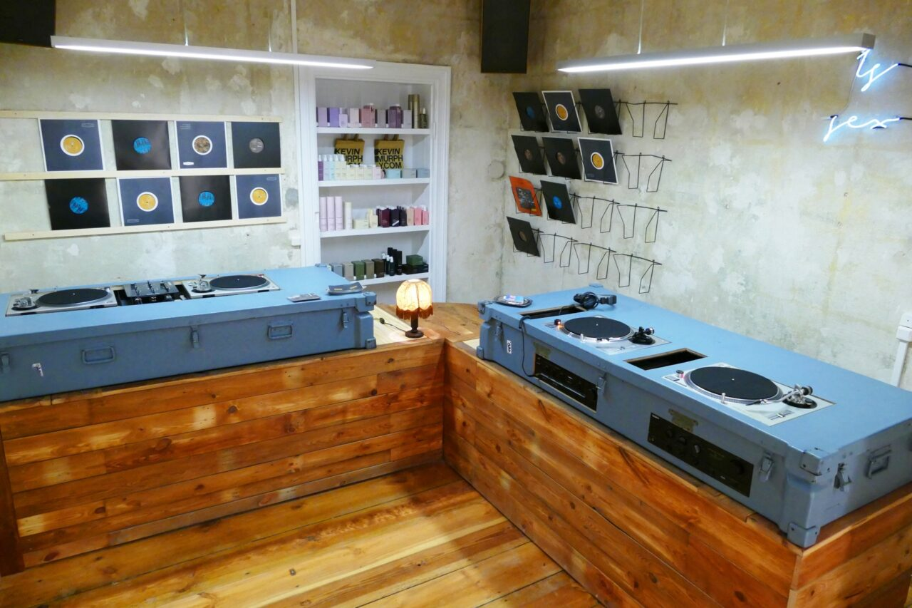 reception and record store with preview stations in neukolln berlin