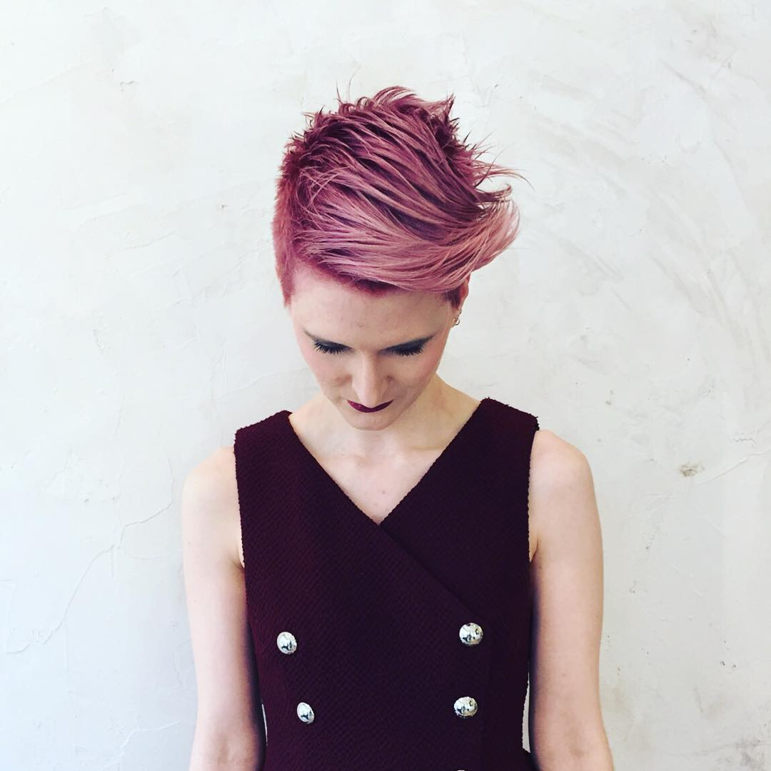 short purple to pink brushed to side womens haircolour and haircut