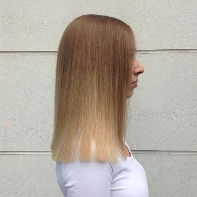 smooth long blonde brazilian treatment blow dry